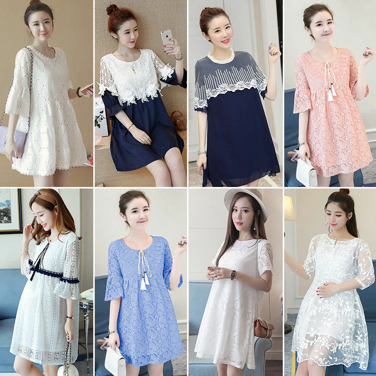 0e32f8f84a0e9 Details about New Korean Sweet Lace Pregnant Women Summer Short Sleeve  Loose Maternity Dress
