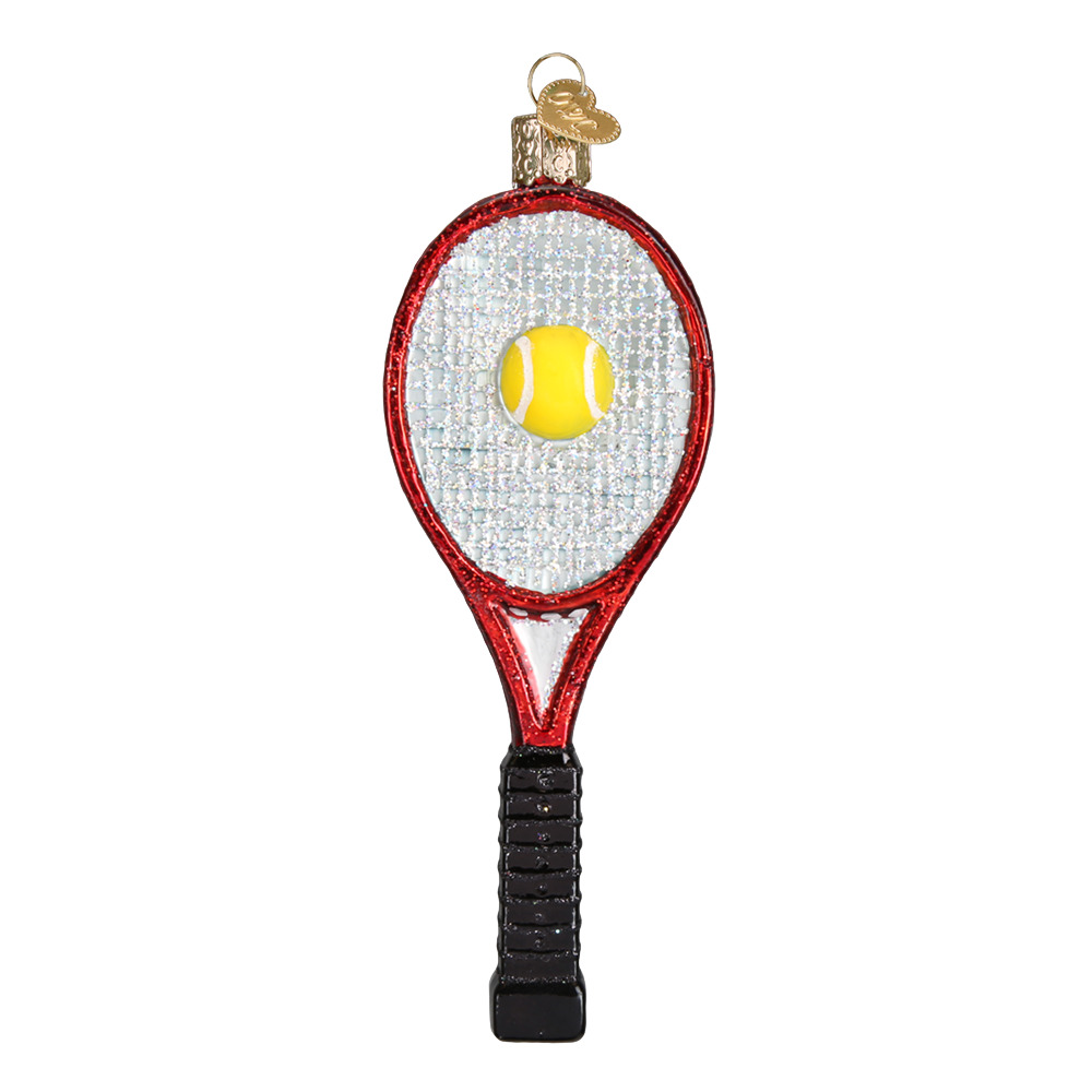 OLD WORLD CHRISTMAS RED TENNIS RACQUET GLASS CHRISTMAS ...