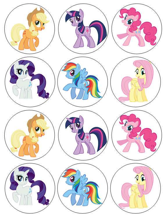 12 My Little Pony Edible Wafer Paper Cupcake Toppers | eBay