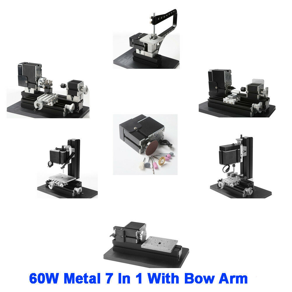 60W High Power Mini Metal 7 In 1 With Bow Arm Lathe DIY ...
