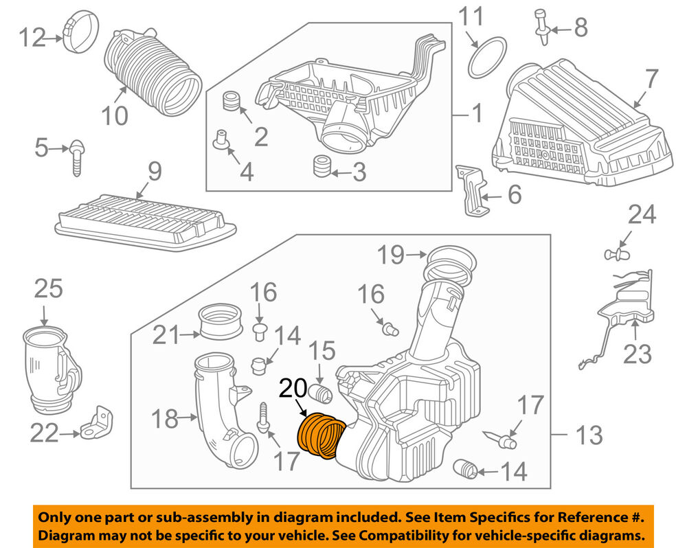 details about honda oem 03-07 accord air cleaner intake-lower seal  17254rcaa00