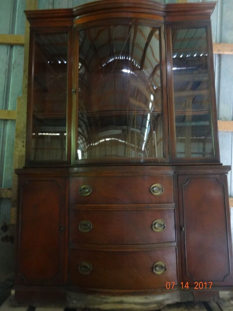 1950 S Antique Cherry Wood China Buffet Hutch With Curved