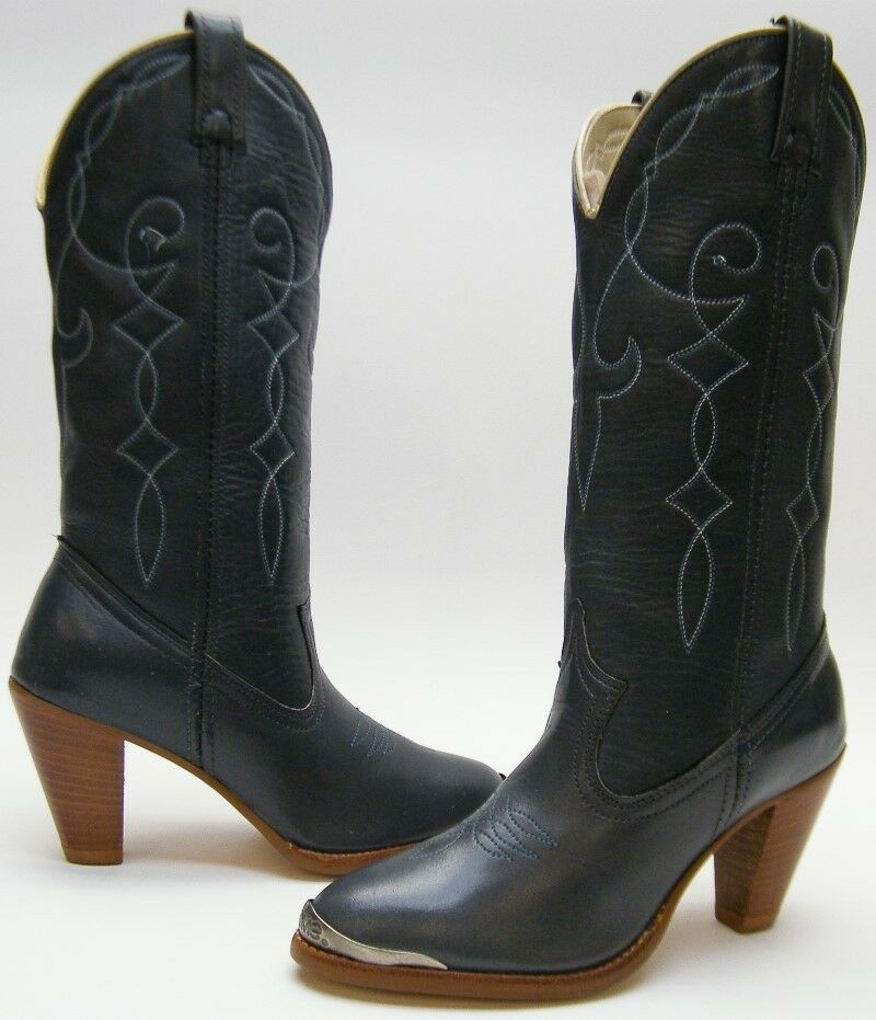 WOMENS NEW VINTAGE ACME GREY GRAY STACKED HIGH HEEL COWBOY WESTERN BOOTS SZ  5 B dae7670cee7a