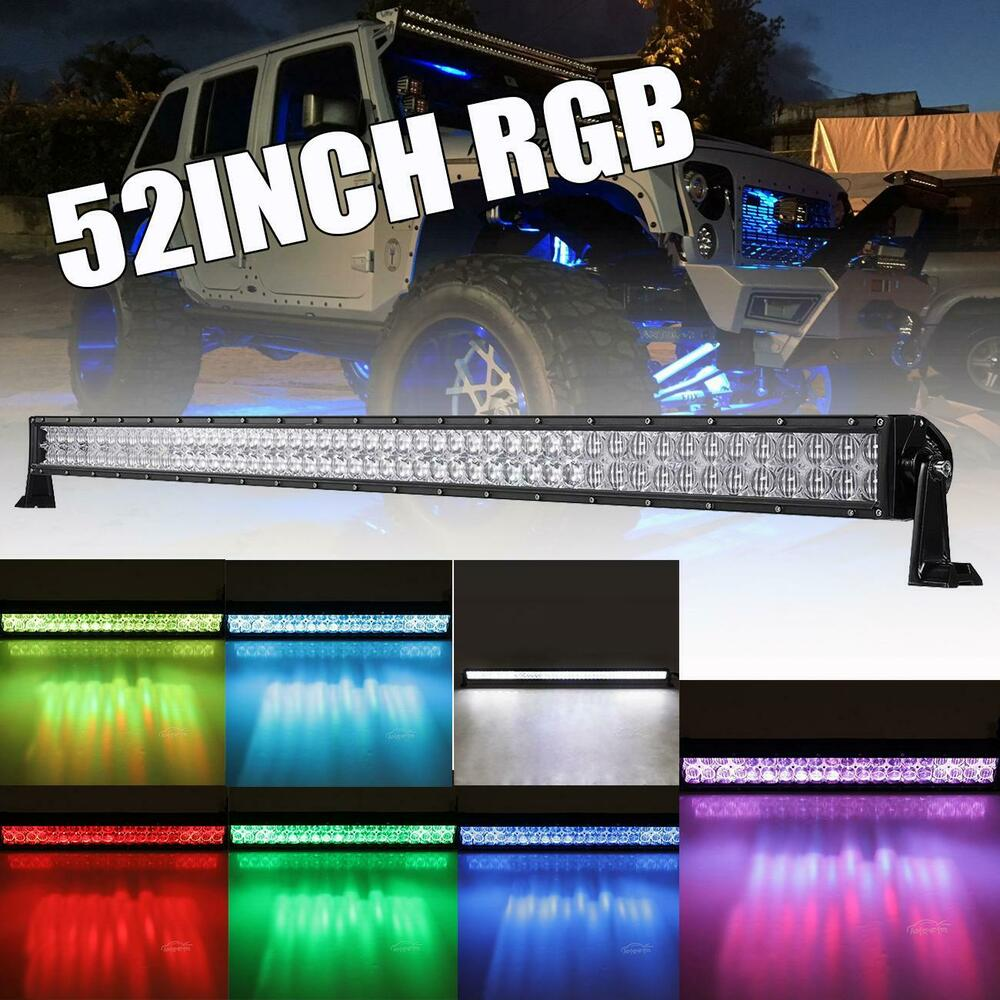 52inch 1000w Rgb Led Light Bar Multi Color Offroad Atv Truck Suv 50 Inch Wiring Harness Free Download Ford Jeep 54 Ebay