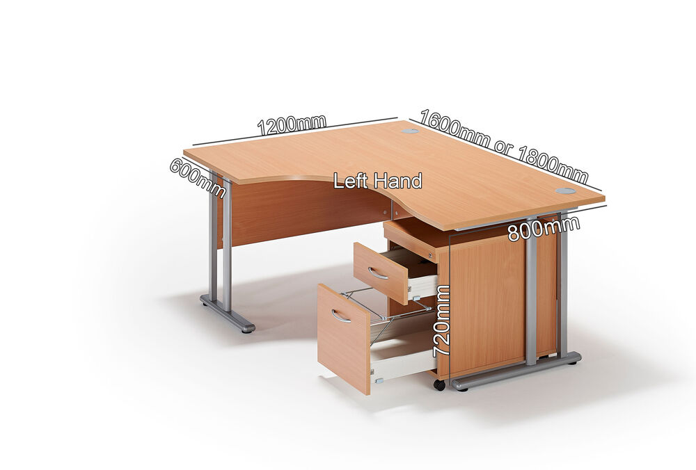Beech curved executive cantilever office desk with mobile - Mobile office desk ...