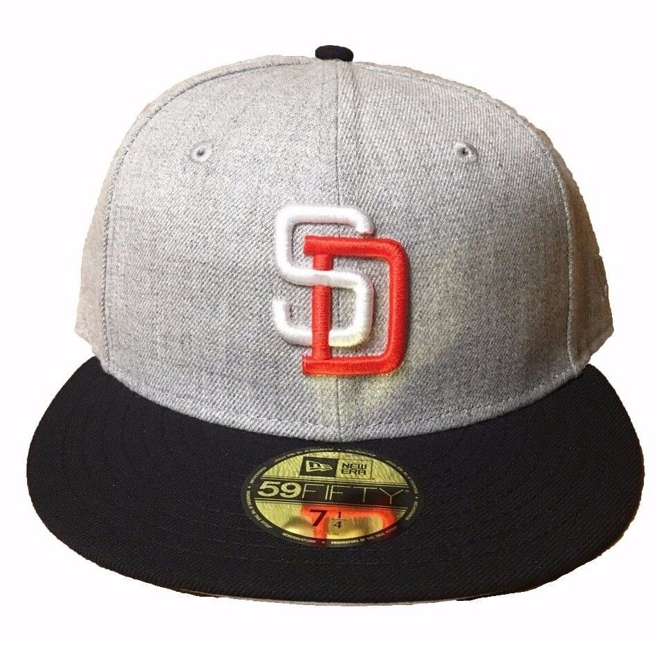 online retailer 1f568 b555d Details about New Era San Diego Padres Heather Grey Navy Orange White  59FIFTY Fitted Hat