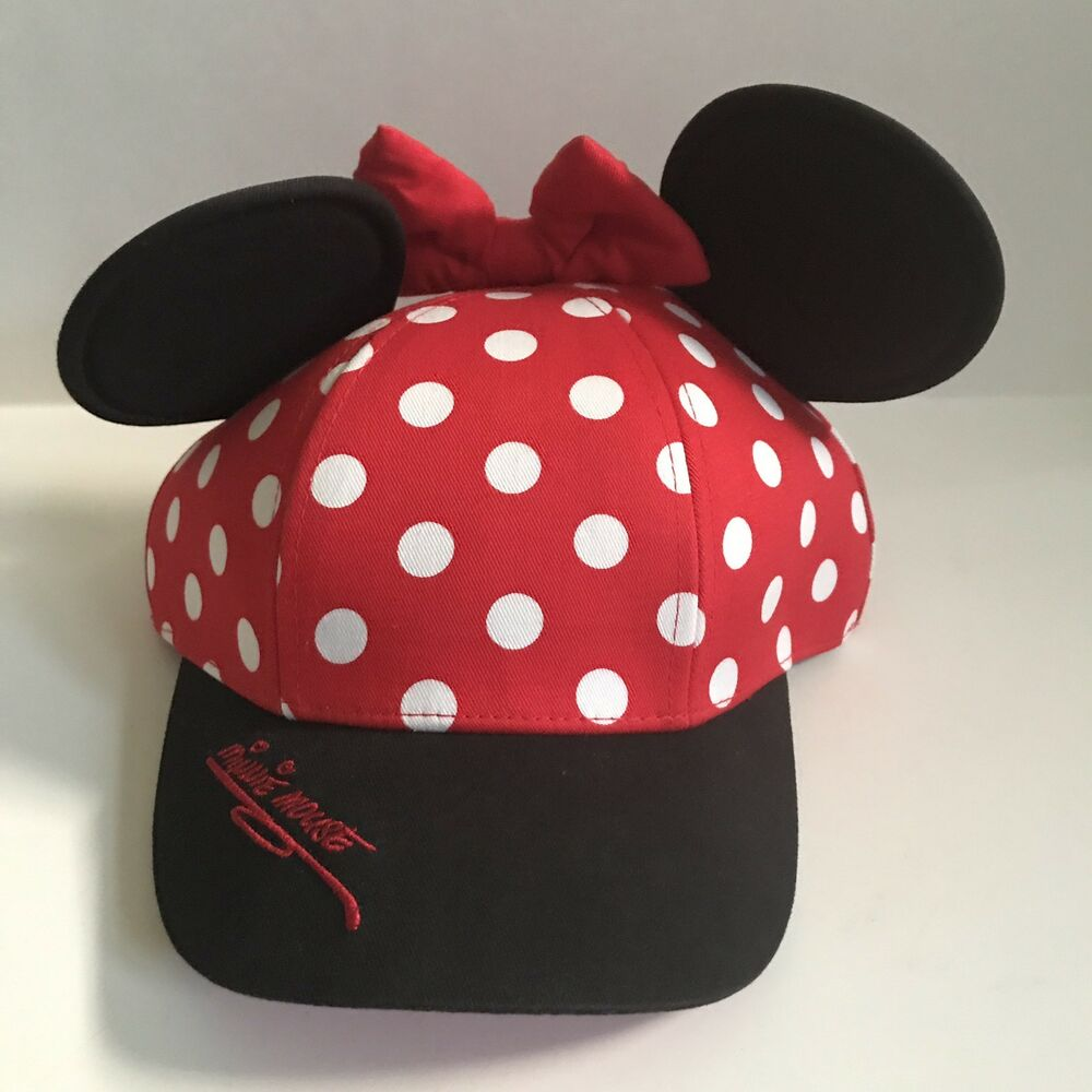 4e97af64654 Details about Walt Disney World Minnie Mouse Polka Dot Baseball Cap Hat Ears  Bow Youth Red