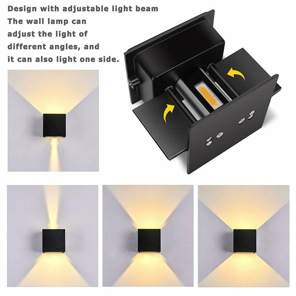 12w 2led wall lights outdoor indoor sconce lamp up down adjustable dimmable ip65 ebay. Black Bedroom Furniture Sets. Home Design Ideas
