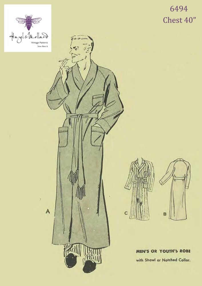 1930s 1940\'s Vintage Sewing Pattern Men\'s Dressing Gown Robe Smoking ...