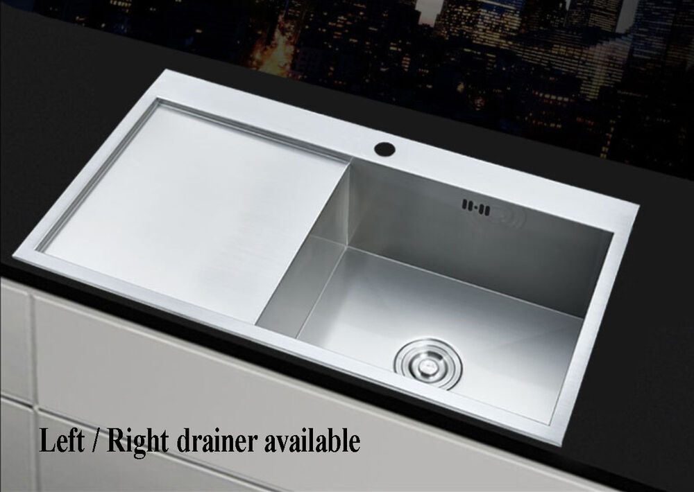 Square 1 0 large bowl kitchen sink stainless steel lh rh - Square stainless steel bathroom sink ...
