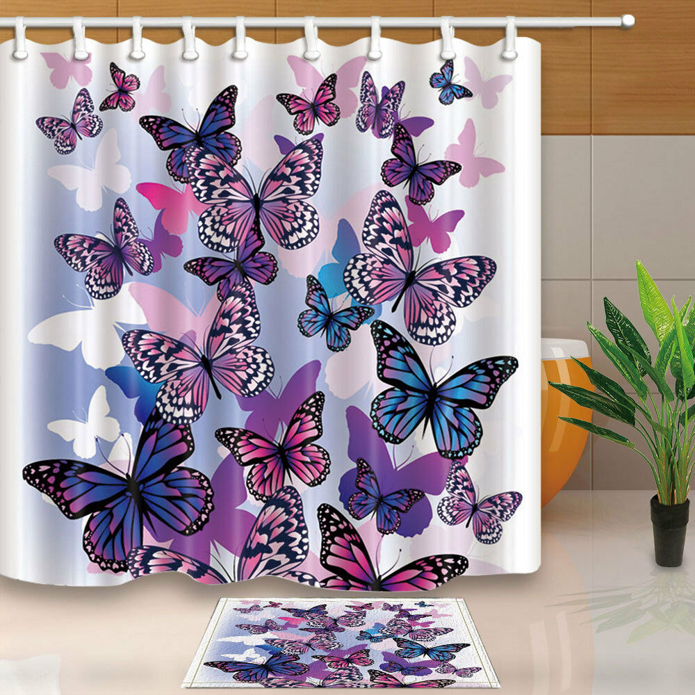 8bc15373da9f Details about Tropical Butterfly Shower Curtain Home Bedroom Decor Fabric    12Hooks 71 71inch