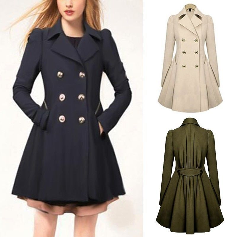 damen lapel winter warm lang parka trench coat jacke outwear mantel bergang neu ebay. Black Bedroom Furniture Sets. Home Design Ideas