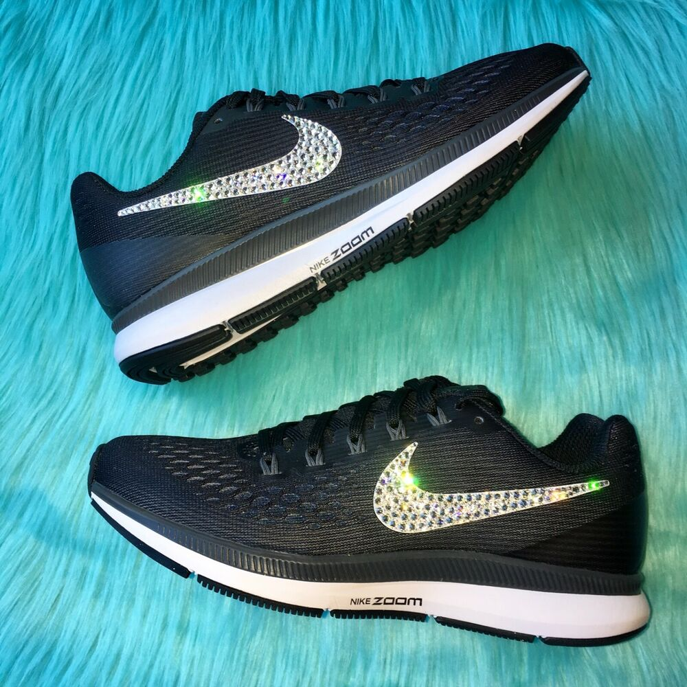 Details about Bling Nike Air Zoom Pegasus 34 Women s Shoes with Swarovski  Crystal Swoosh Black bfe0f7717