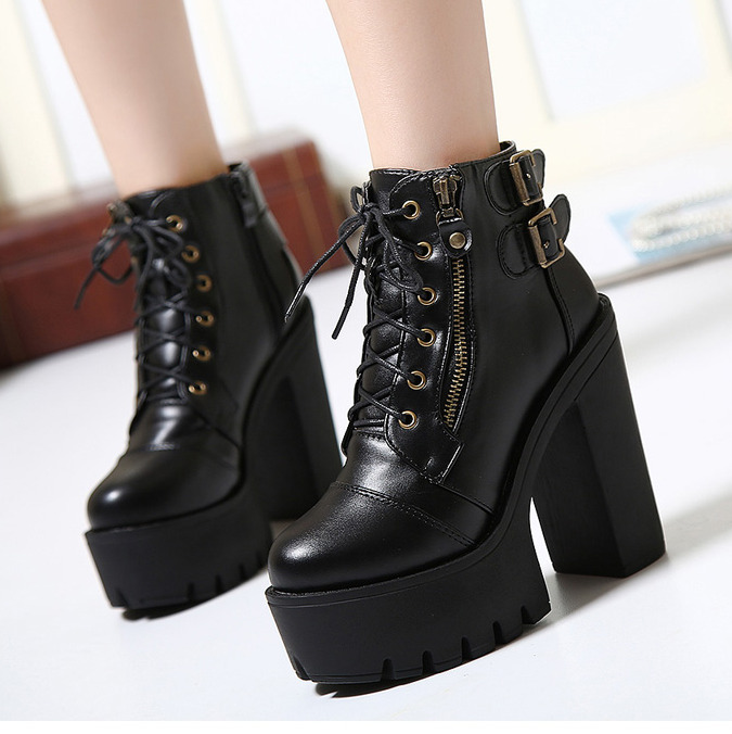 3a40e3378a9 Details about Womens Chunky High Heels Lace Up Buckle Platform Korean Ankle  Boots Biker Shoes