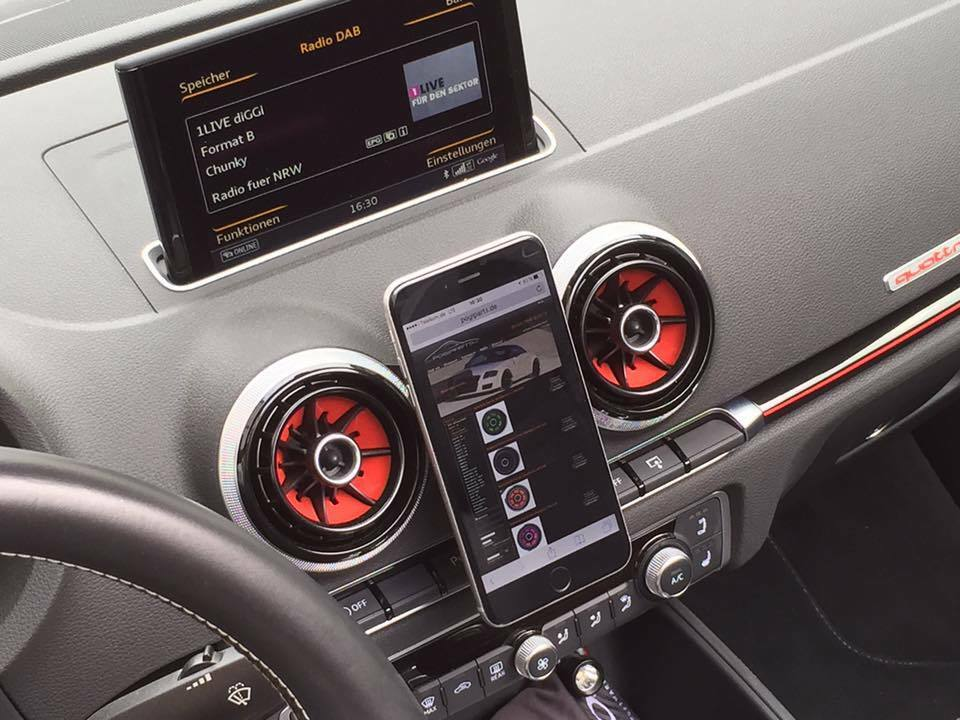 magnetic cell phone holder for audi a3 8v mobil gps 360 dash mount alu carbon ebay. Black Bedroom Furniture Sets. Home Design Ideas