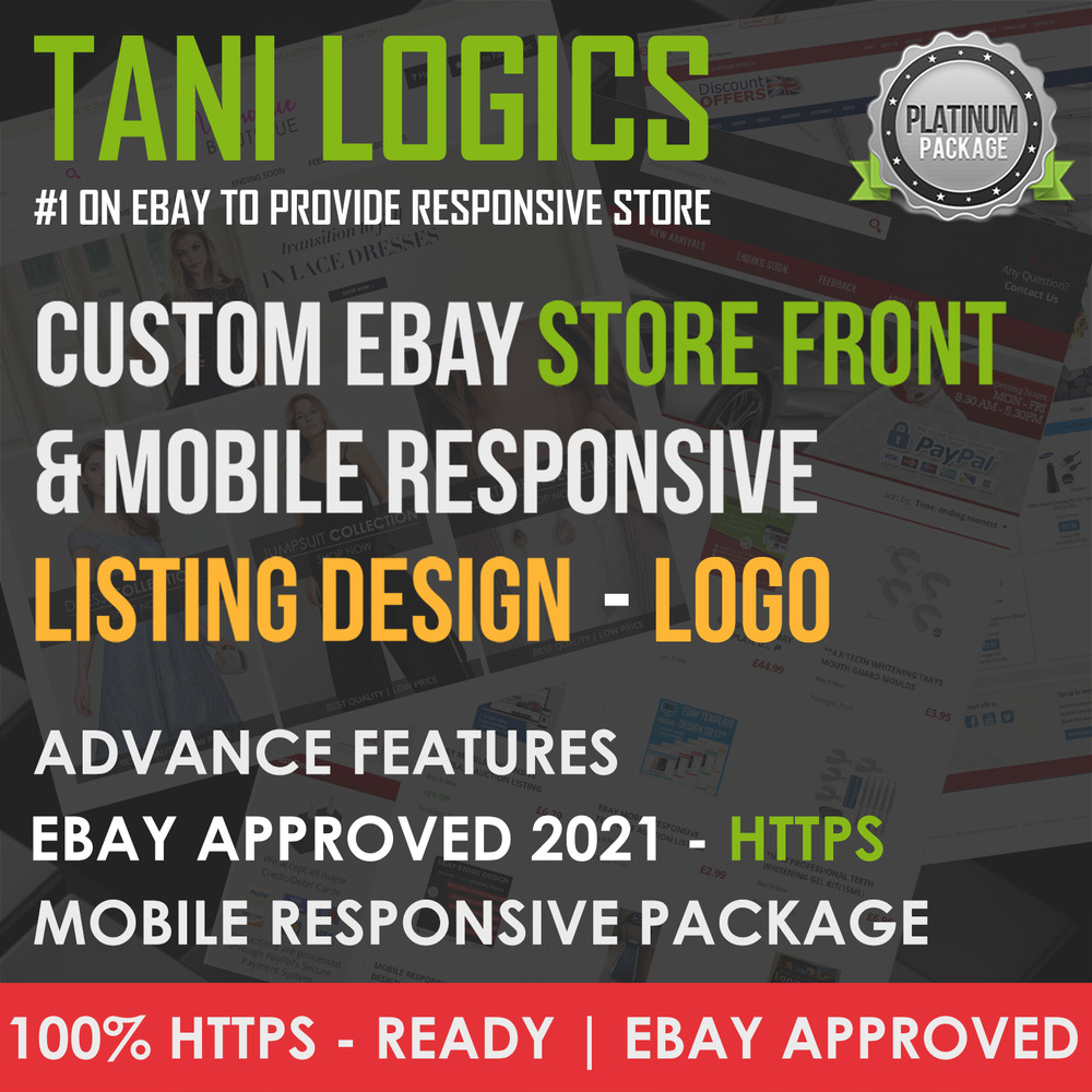 Custom Mobile Responsive EBay Shop Listing Template Design HTTPS - Custom ebay store template