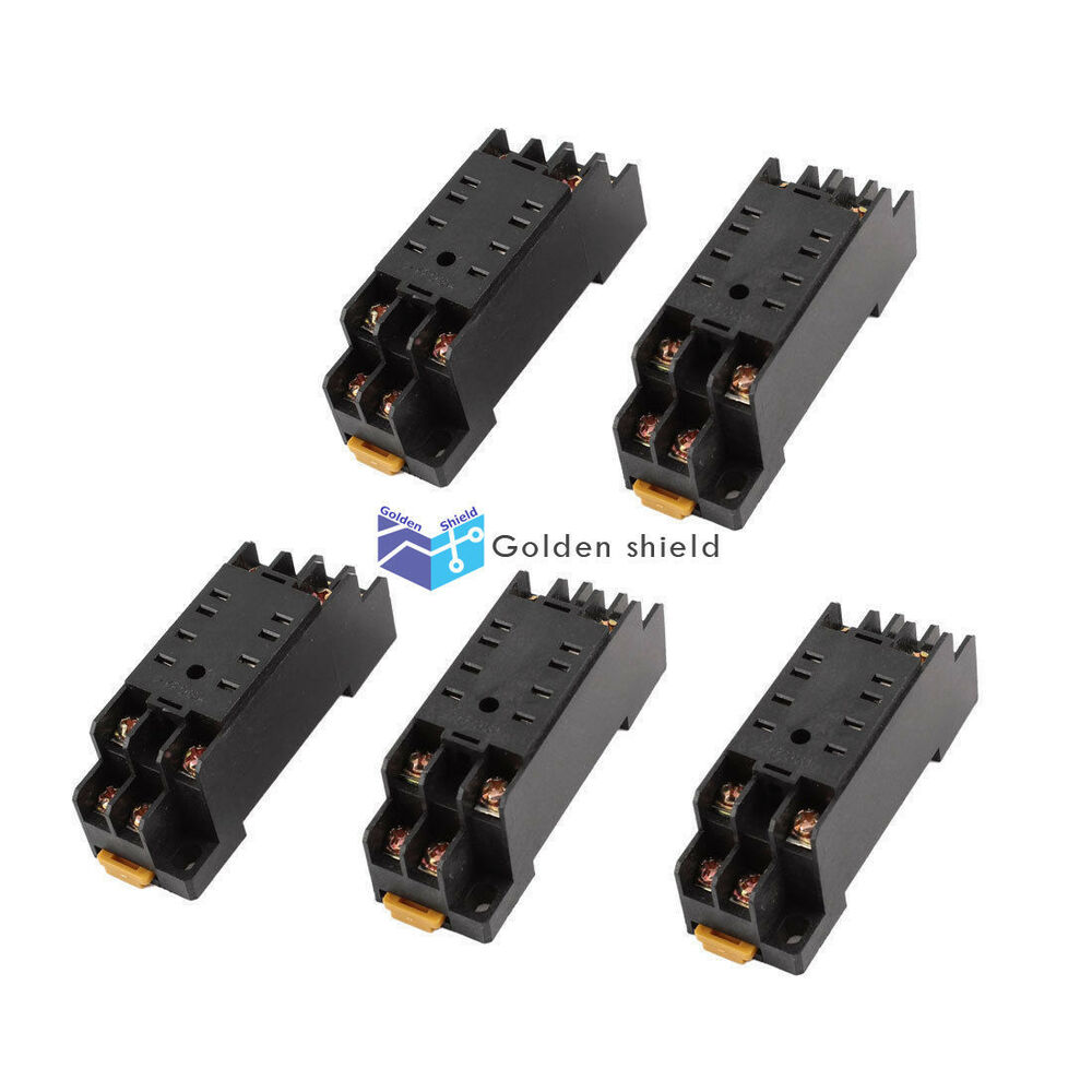5 Pcs Ptf 08a 8 Pins 8p Din Rail Mount Relay Socket Base For Hh52p