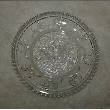 Antique Lacy Sandwich Glass Cup Plate Butterfly Flowers 3.25