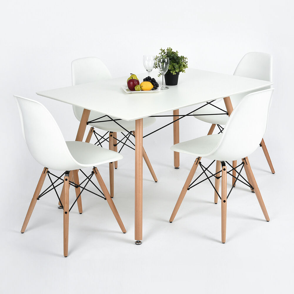 Details About 4 X White Designer Dining Chairs And Table Set Matte Wooden  Leg Table Chairs