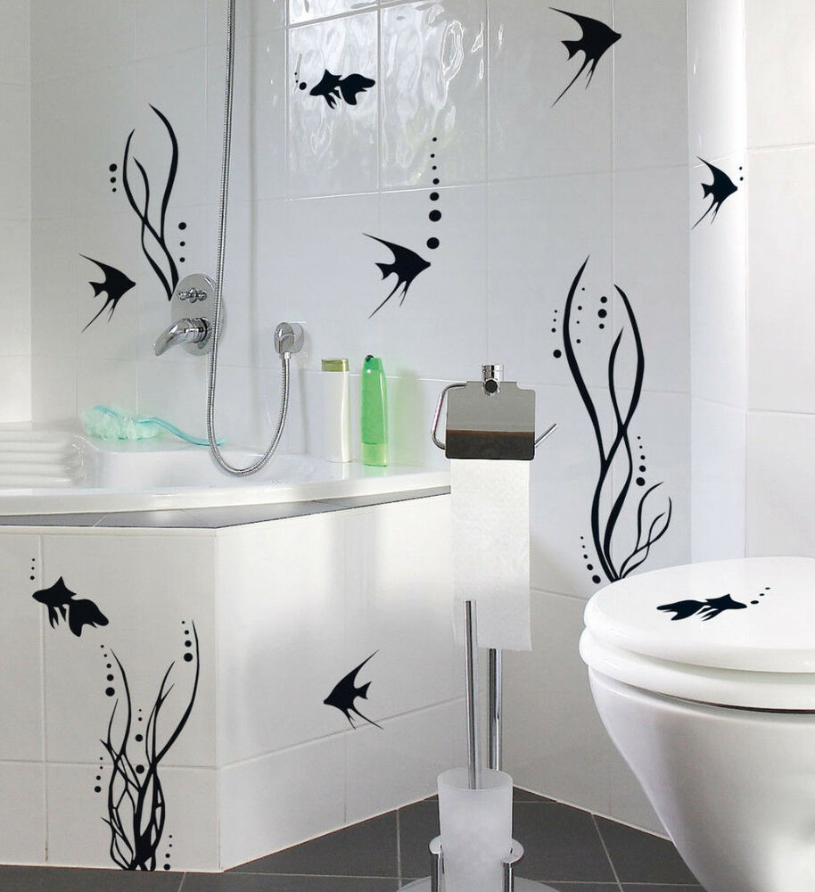 bad deko wand tattoo set fischwelt fische badezimmer wc fliesen made in germany ebay. Black Bedroom Furniture Sets. Home Design Ideas