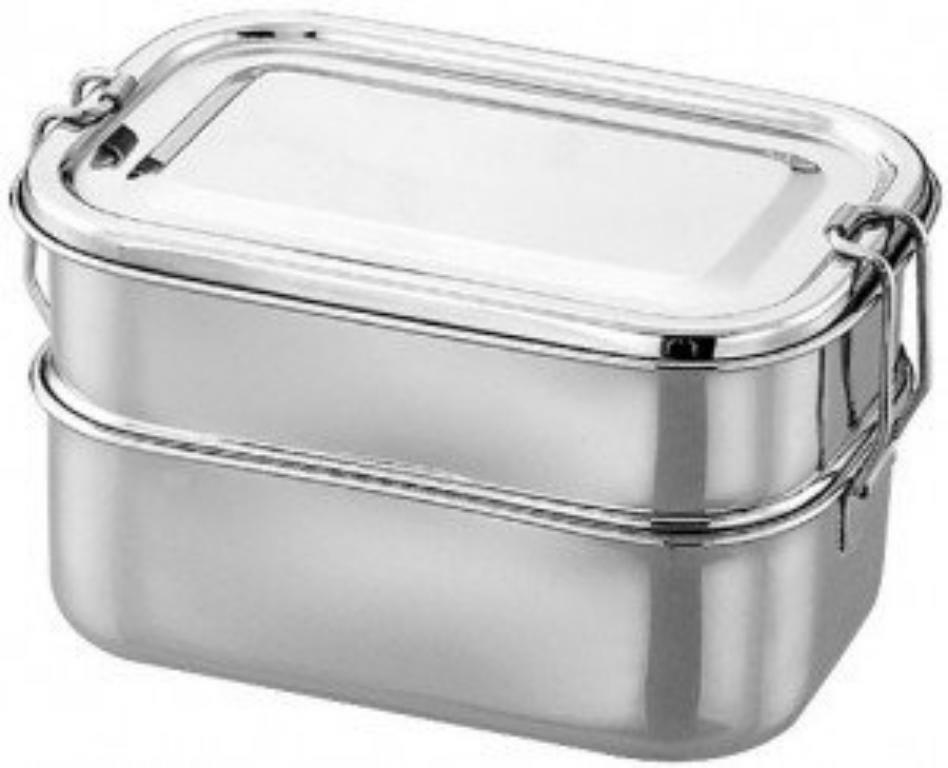 2 tier stainless steel food grade bento lunch box rectangle school tiffin box ebay. Black Bedroom Furniture Sets. Home Design Ideas