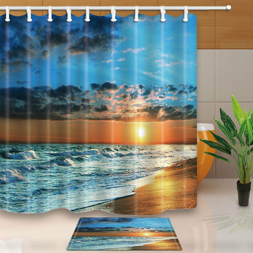Details About Sunset Beach Shower Curtain Bathroom Waterproof Fabric 12Hooks 7171inch