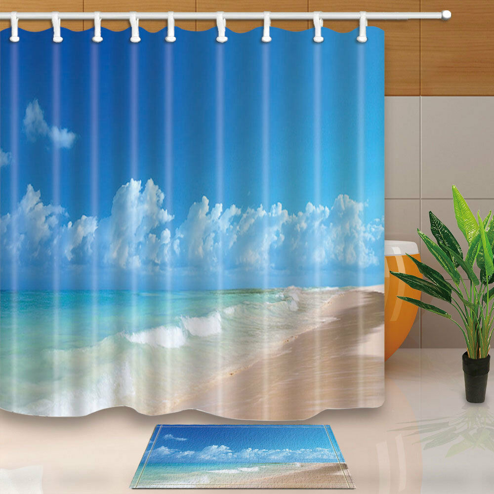Details About Blue Sky And Beach Shower Curtain Bathroom Decor Waterproof Fabric 12Hooks