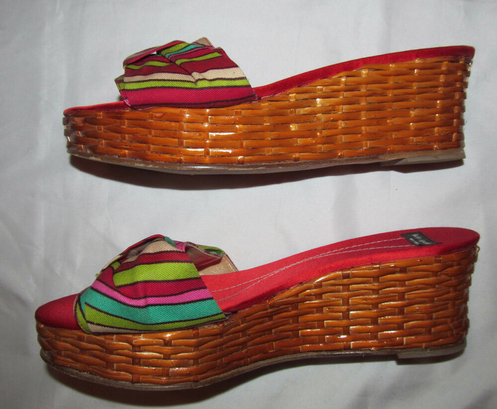 0ce1647b1478 Details about KATE SPADE NEW YORK CANCUN JADE FERN bamboo woven sraw wedge  sandals shoes 8