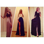 CELEB WOMENS SEXY LONG LACE DRESS FORMAL BALL COCKTAIL PROM EVENING PARTY DRESS