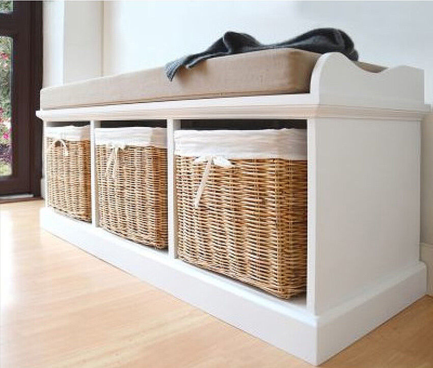 White Shoe Storage Bench Hall Cushion Cabinet Wooden