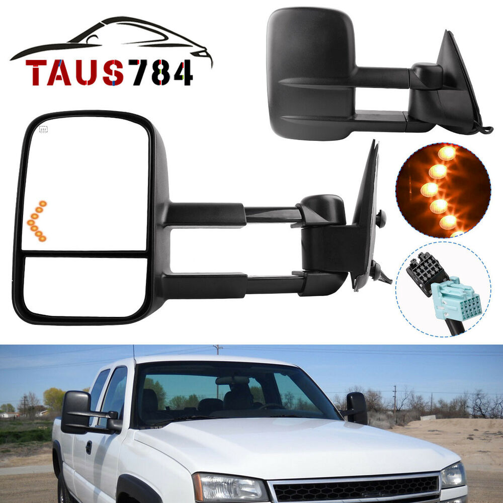 power heated led signals tow mirrors for 03 06 chevy silverado 1500 2500 hd 3500 ebay. Black Bedroom Furniture Sets. Home Design Ideas
