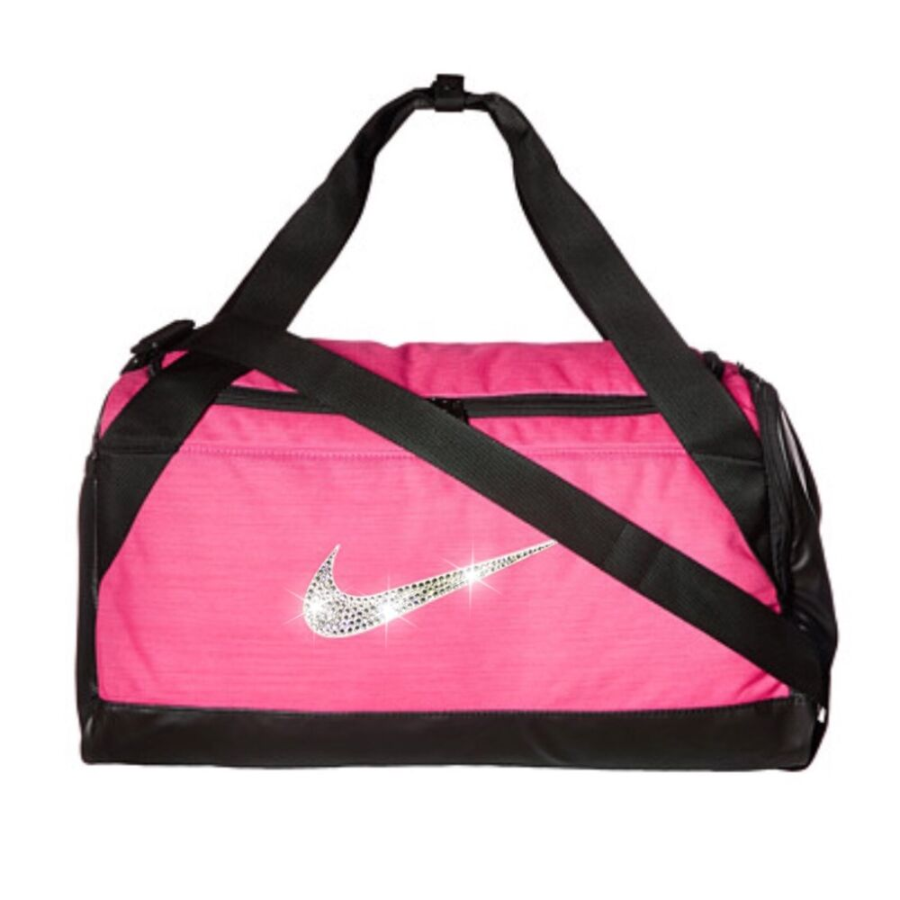 5d9a596496f Details about Bling Nike Brasilia Duffel Gym Bag with Swarovski Crystal  Bedazzled Swoosh PINK