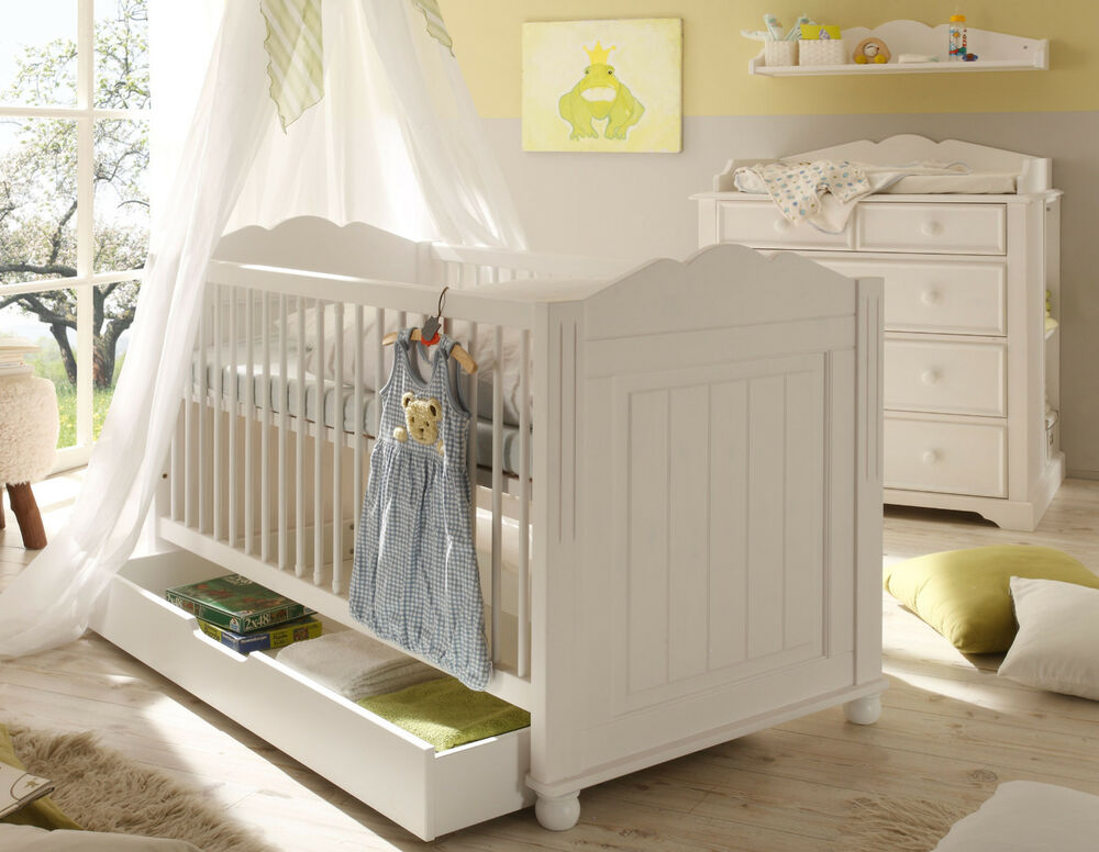 schlafkontor cinderella babybett gitterbett kiefer teilmassiv wei 70x140 cm ebay. Black Bedroom Furniture Sets. Home Design Ideas