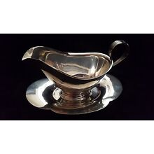 Gorham Sterling Silver Gravy Boat 709 with Attached Underplate Tray, No Mono