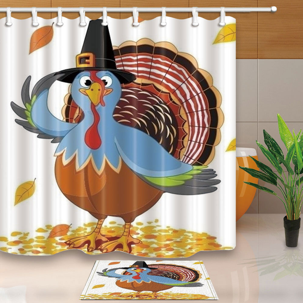 Details About Thanksgiving Turkey Shower Curtain Bathroom Waterproof Fabric 12hooks 7171in
