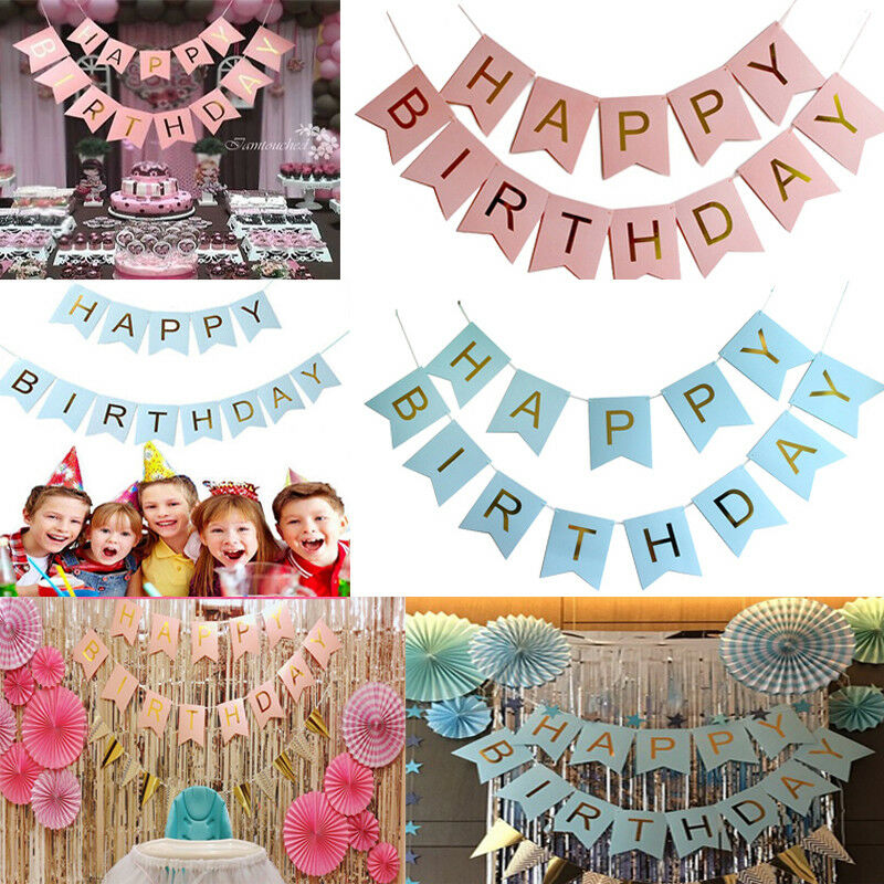 Glitter Paper Birthday Party Hanging Bunting Banner Flag: Glitter Happy Birthday Bunting Garland Gold Letters Party