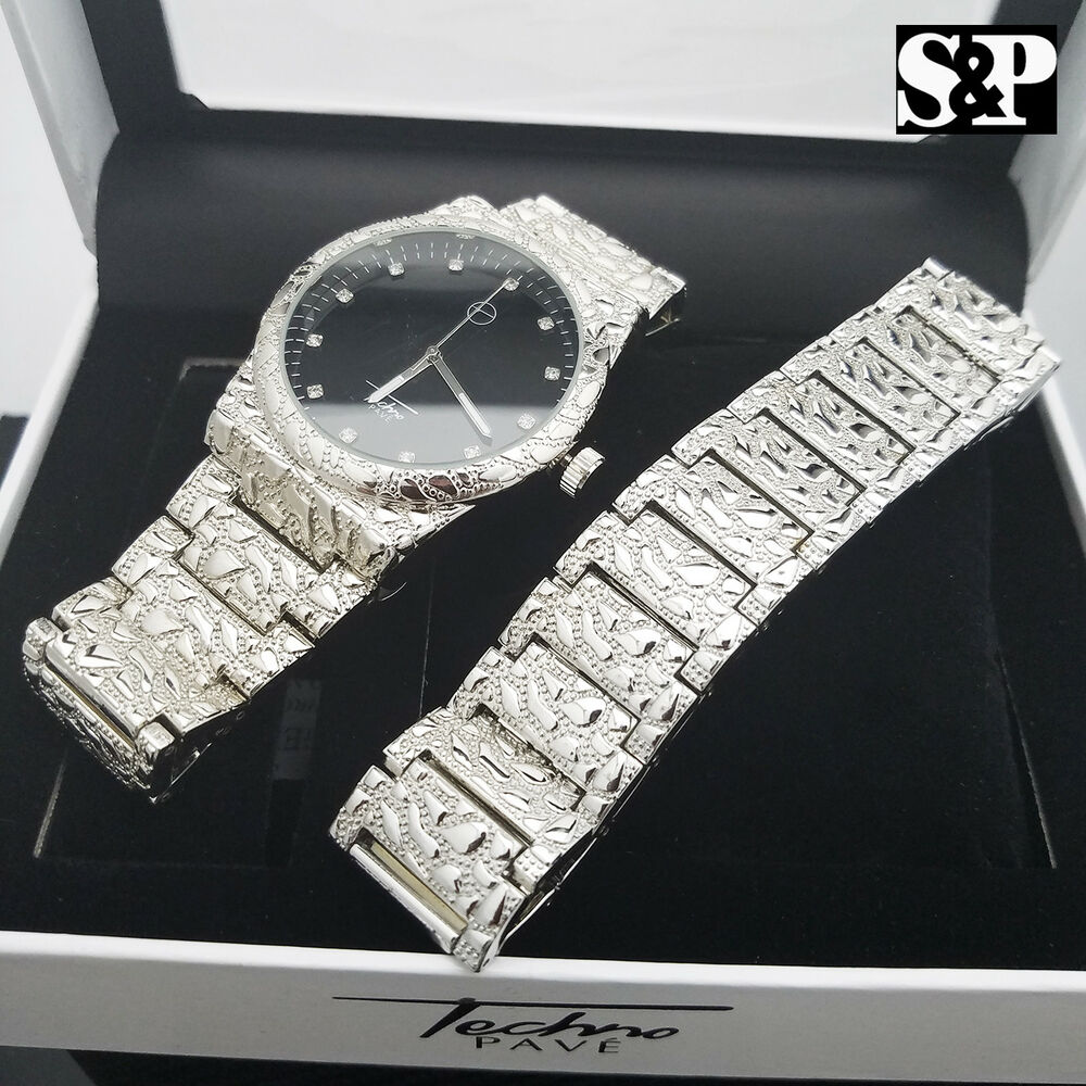 MEN ICED OUT SILVER PLATED URBAN STYLE SILVER NUGGET WATCH