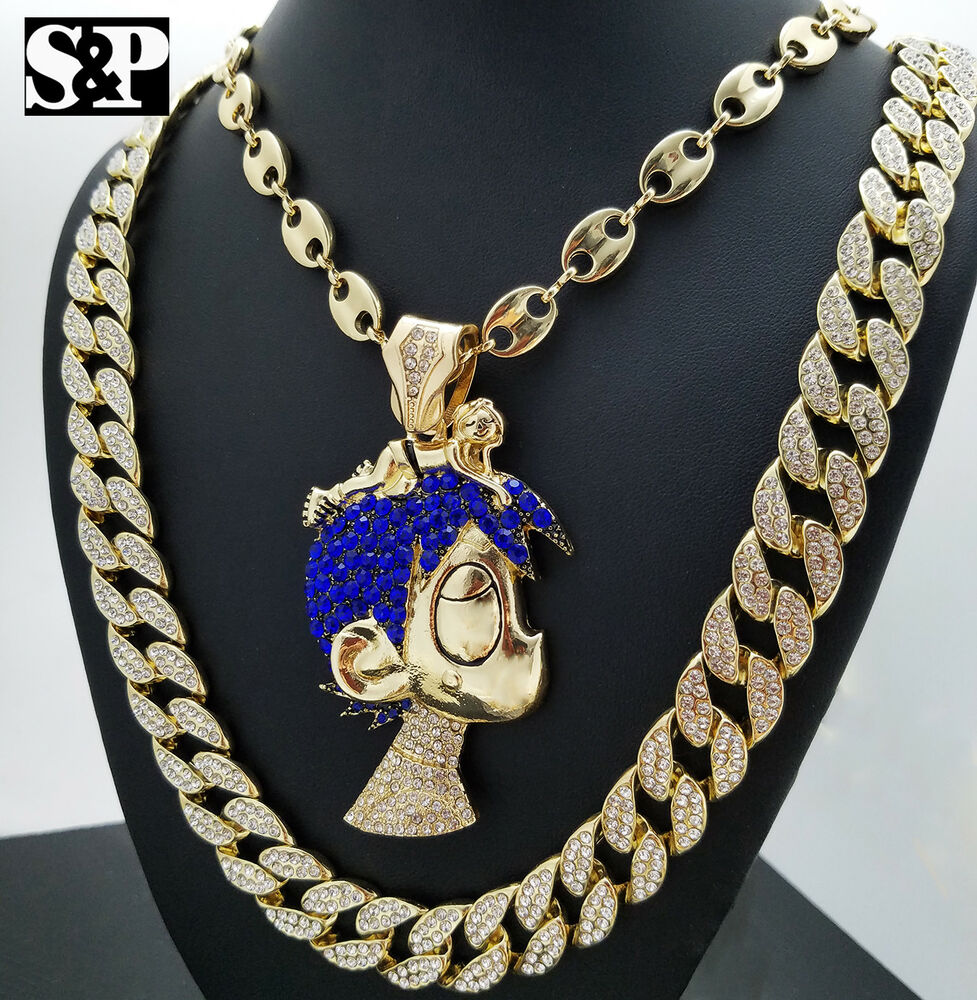 "Cartoon Character Necklace & 30"" Full Iced Out Cuban Chain"