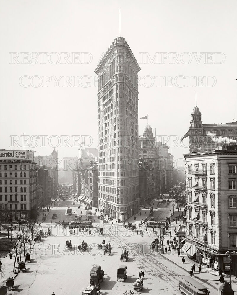 Details about two 16 x 20 inch photo prints ny flatiron building construction 1902 broadway