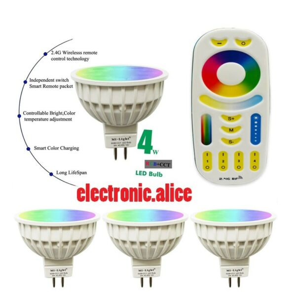 Dimmable RGB CCT Led Bulb lamp MR16 4W RGBW RGBWW bulb spot light DC12V mi light