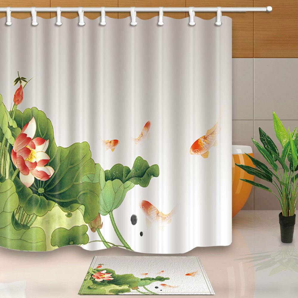 Details About Watercolor Lotus And Fish Shower Curtain Bathroom Waterproof Fabric 12hooks