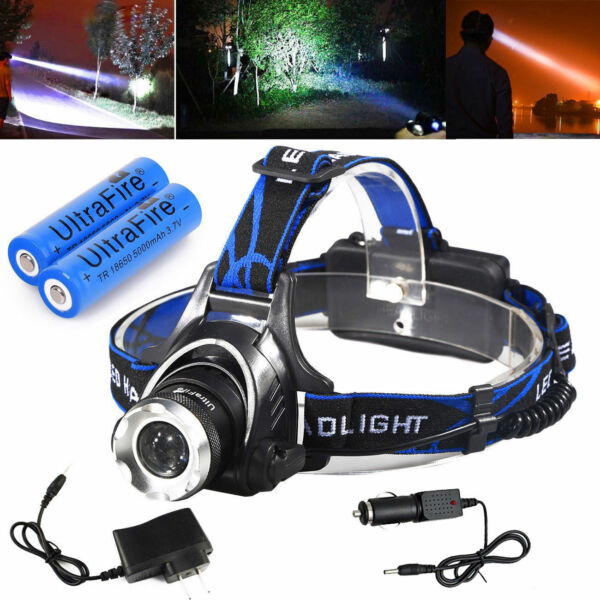 150000LM T6 LED Headlamp Rechargeable Headlight Head Lamp + 2Pcs 18650 + Charger