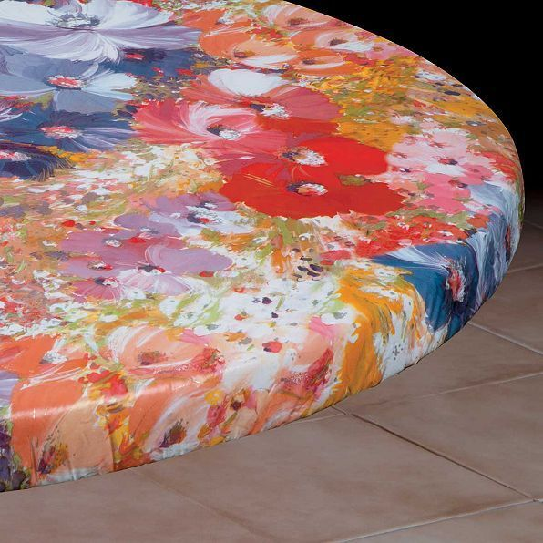 Water Color Round Elasticized Tablecloth Table Cover Vinyl