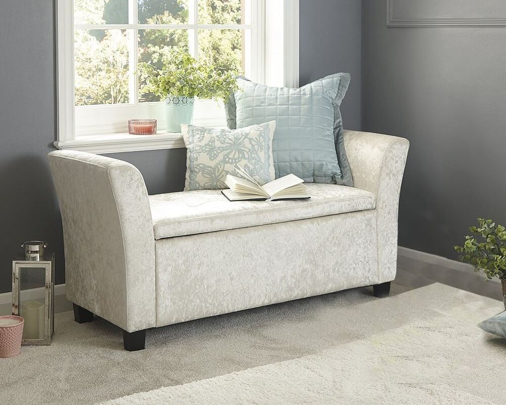 Verona Crushed Velvet Window Seat Ottoman Storage Box Footstool Bench Oyster 5060516211647 Ebay