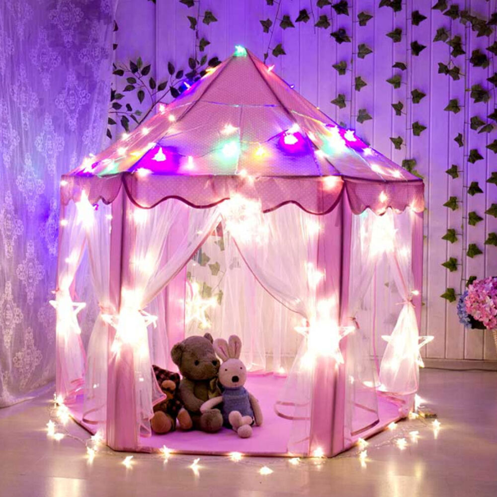 Pink Tent Princess House Castle Girls Playhouse Kids In/Outdoor Fairy Play Tent & Play Tent | eBay