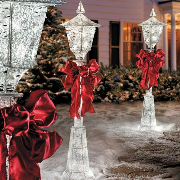 SALE 4u0027 Lighted Pre Lit Christmas Victorian Lamp Post Outdoor Holiday Yard  Decor