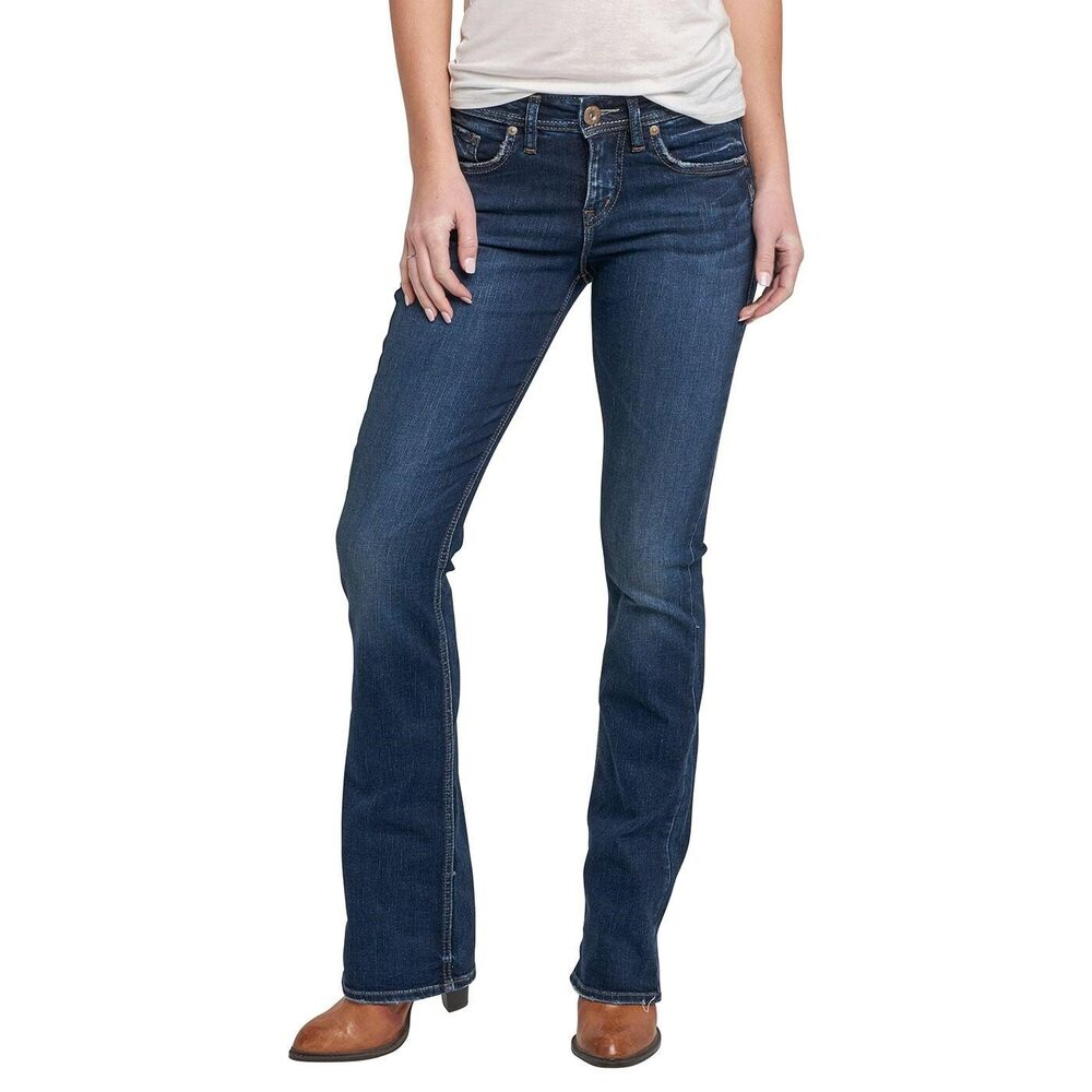 9479ef1887d Details about Silver Jeans Women s Avery High Rise Slim Boot Cut Jeans  L94627SSX458