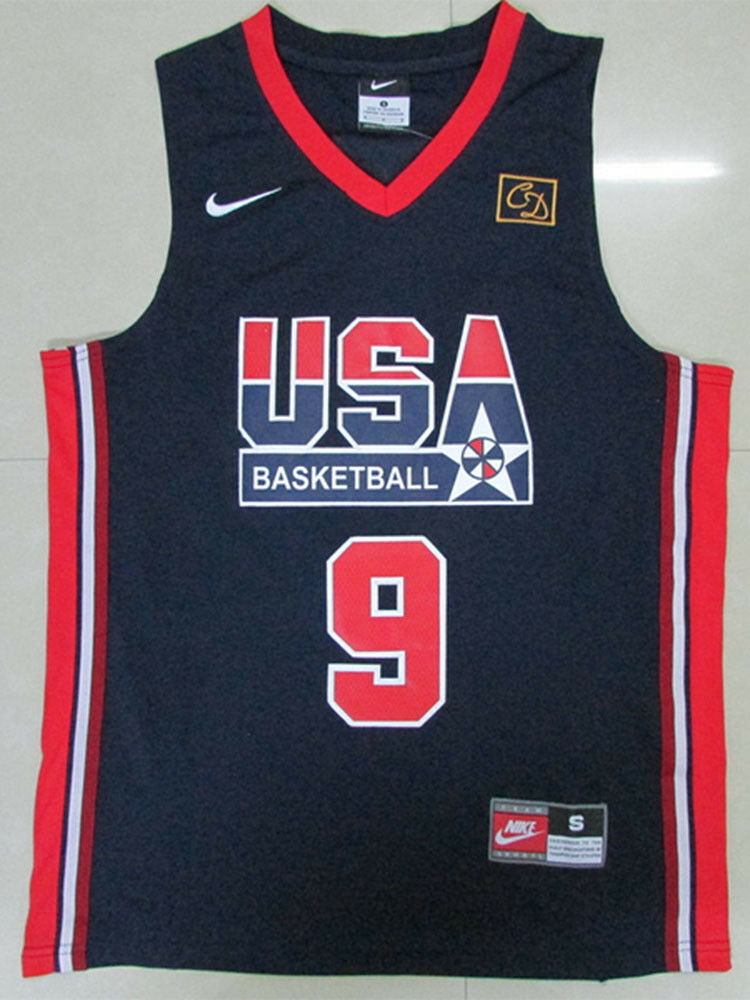 6550b303758e Michael Jordan Jersey 1992 USA Dream Team Olympic Blue White Basketball  Jersey