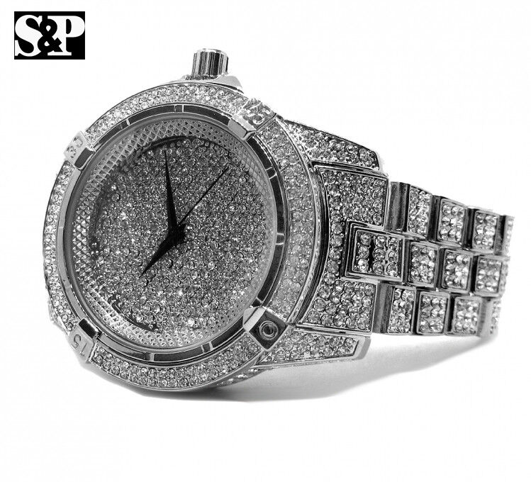 Men hip hop white gold plated iced out bling quavo metal for Rapper watches