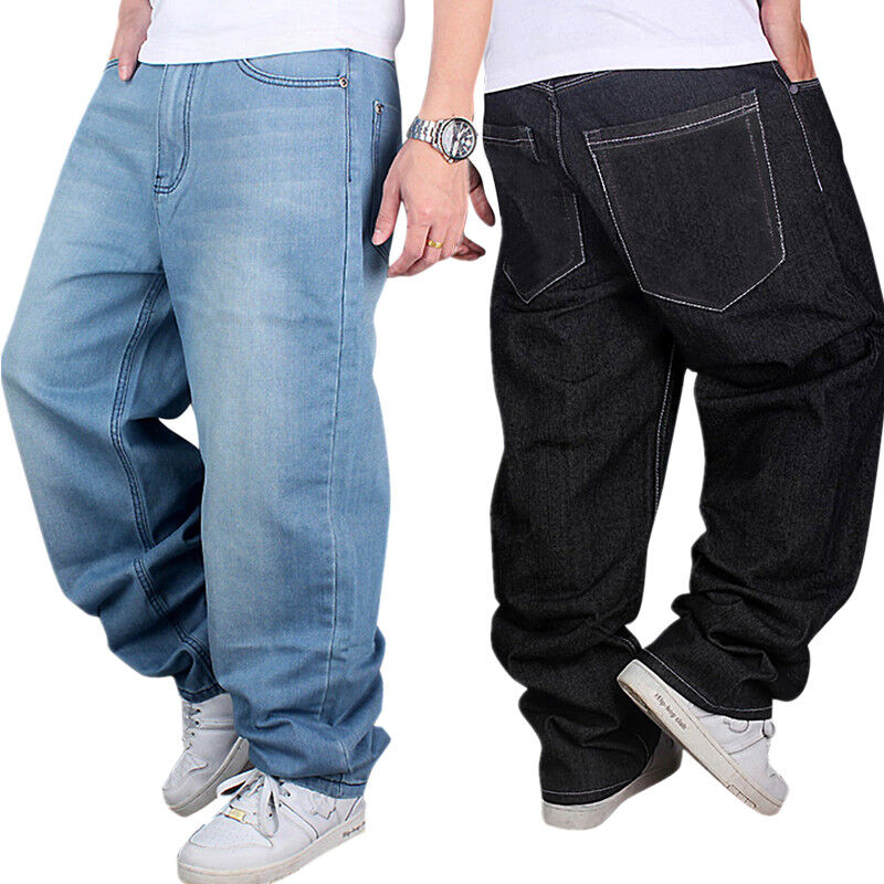 Mens Jeans Black Blue Baggy Loose Denim Hip-Hop Rap ...
